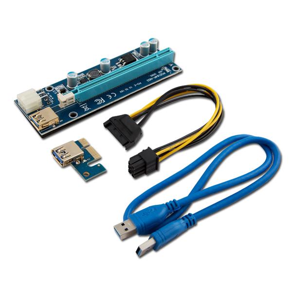 Riser PCI-Express 1x (M) – 16x (F), 6pin SATA (M), USB 3.0 AK-36