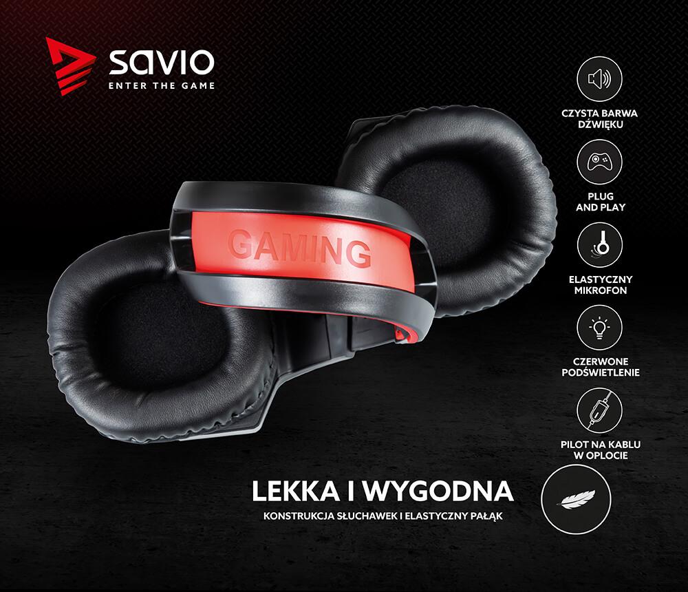 Słuchawki gamingowe z mikrofonem Savio Forge