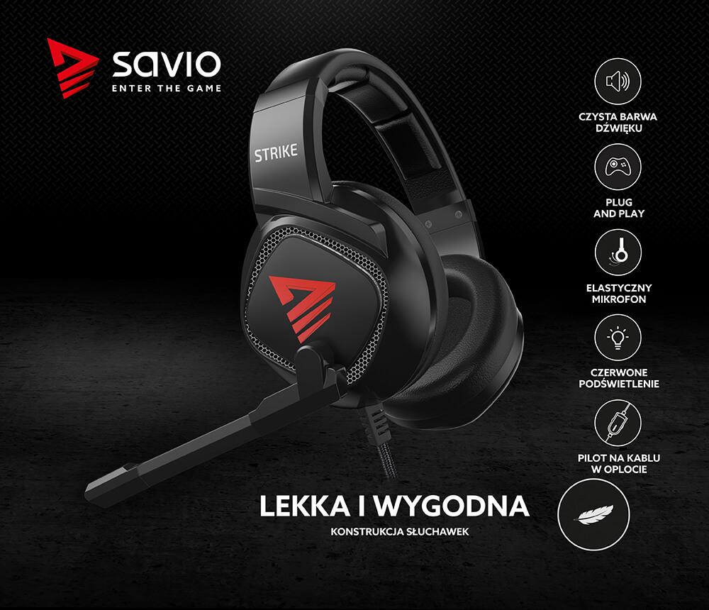 Słuchawki gamingowe z mikrofonem Savio STRIKE