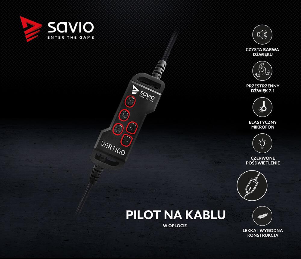 Słuchawki Gamingowe z mikrofonem 7.1 virtual surround SAVIO VERTIGO