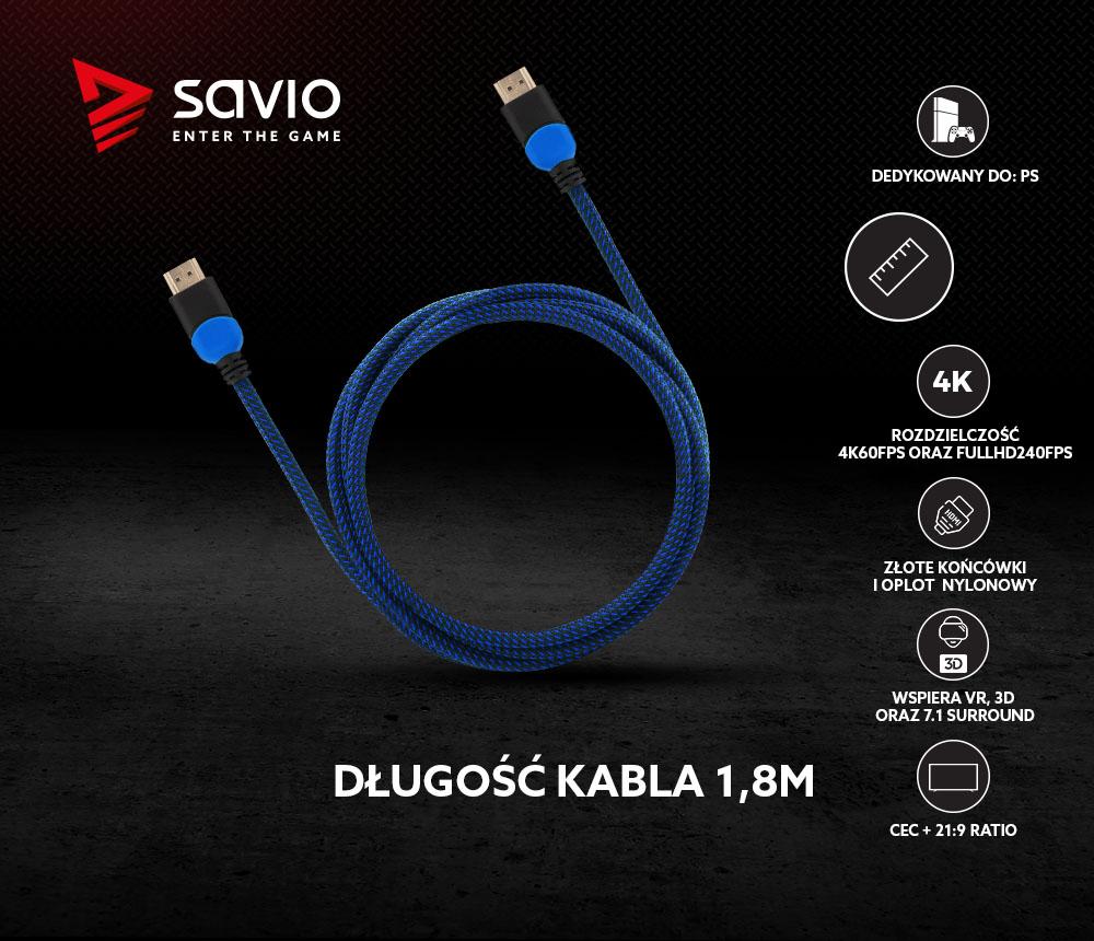 Kabel HDMI 2.0 dedykowany do Playstation niebiesko-czarny 1,8m