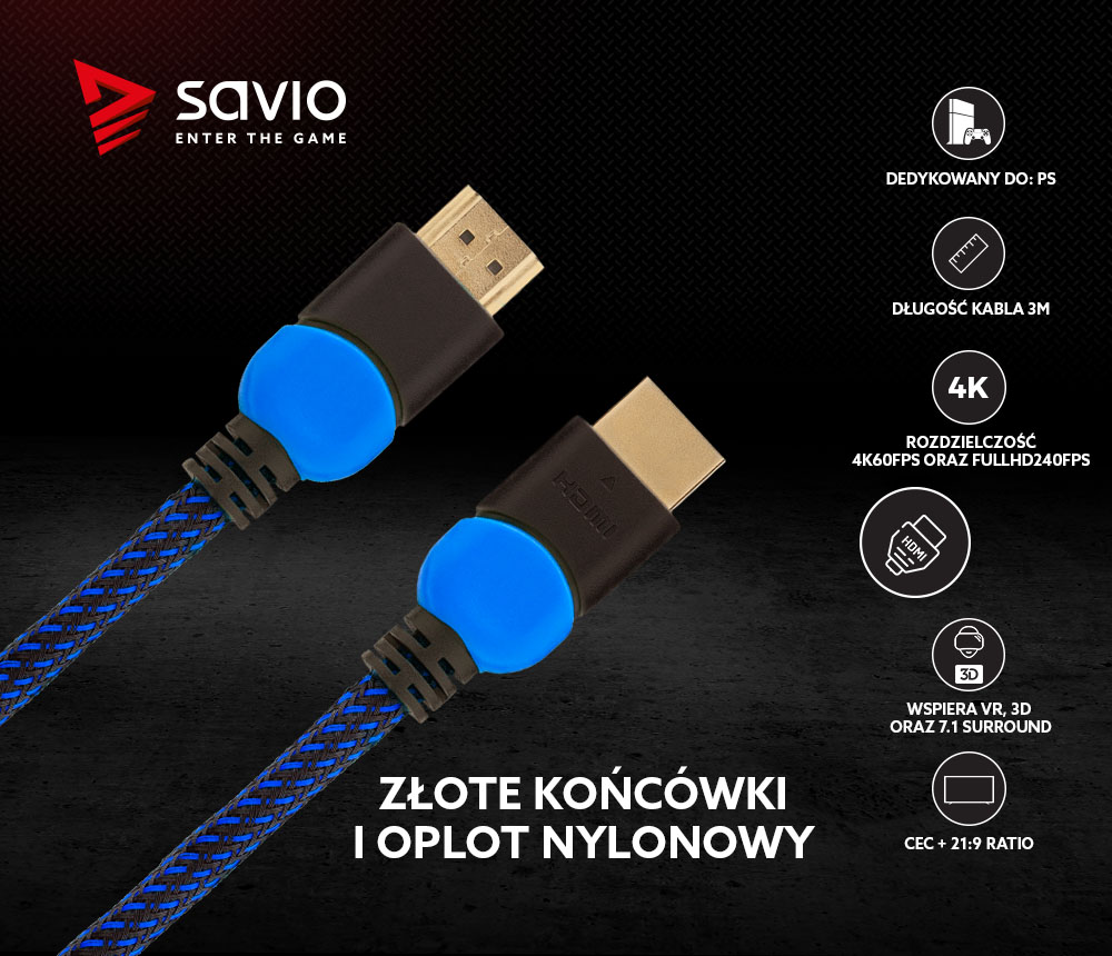 Kabel HDMI 2.0 dedykowany do Playstation niebiesko-czarny 3m
