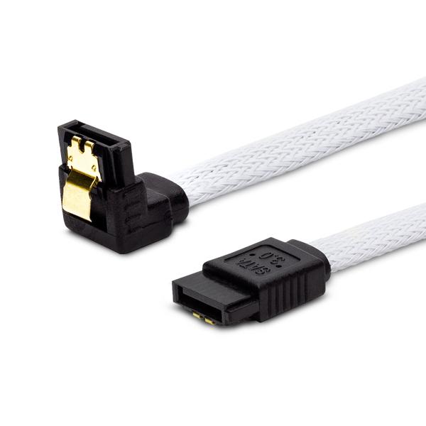 SATA III 30cm cable, white braided, angled, golden catch SAVIO GAK-03