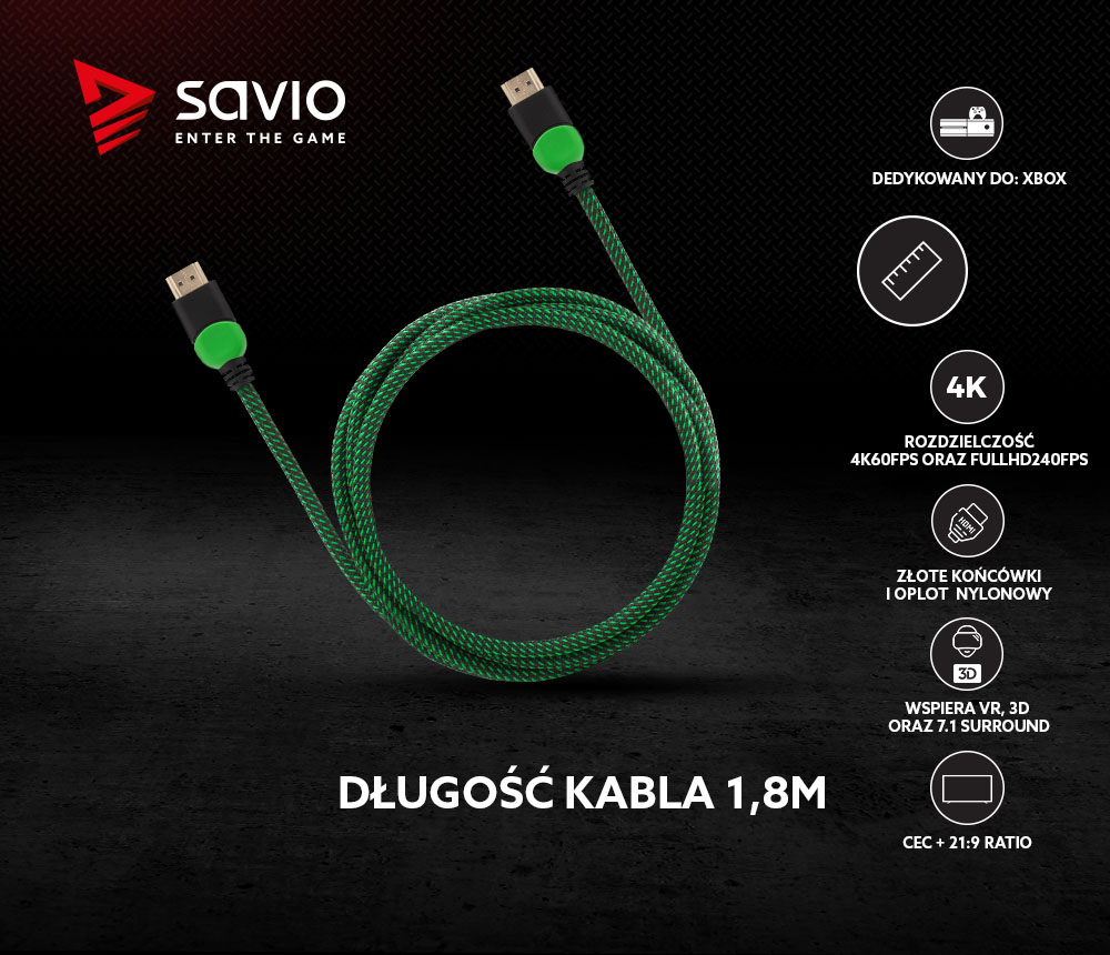 Kabel HDMI 2.0 dedykowany XBOX zielono-czarny 1,8m