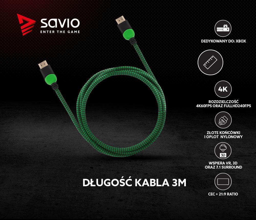 Kabel HDMI 2.0 dedykowany do XBOX zielono-czarny 3m