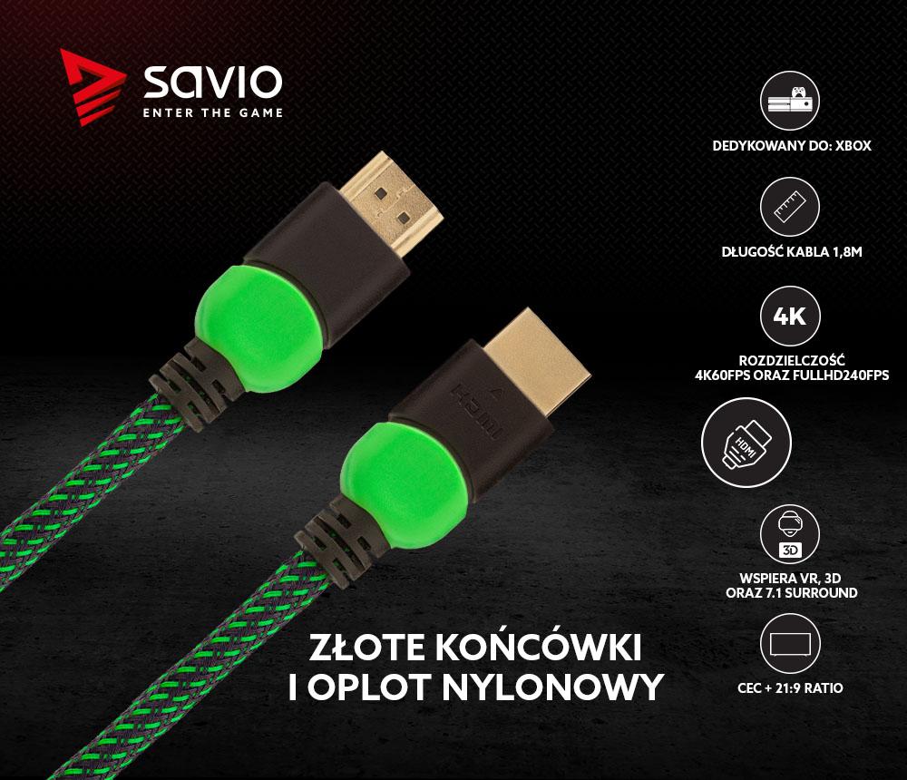 Kabel HDMI 2.0 dedykowany do XBOX zielono-czarny 1,8m