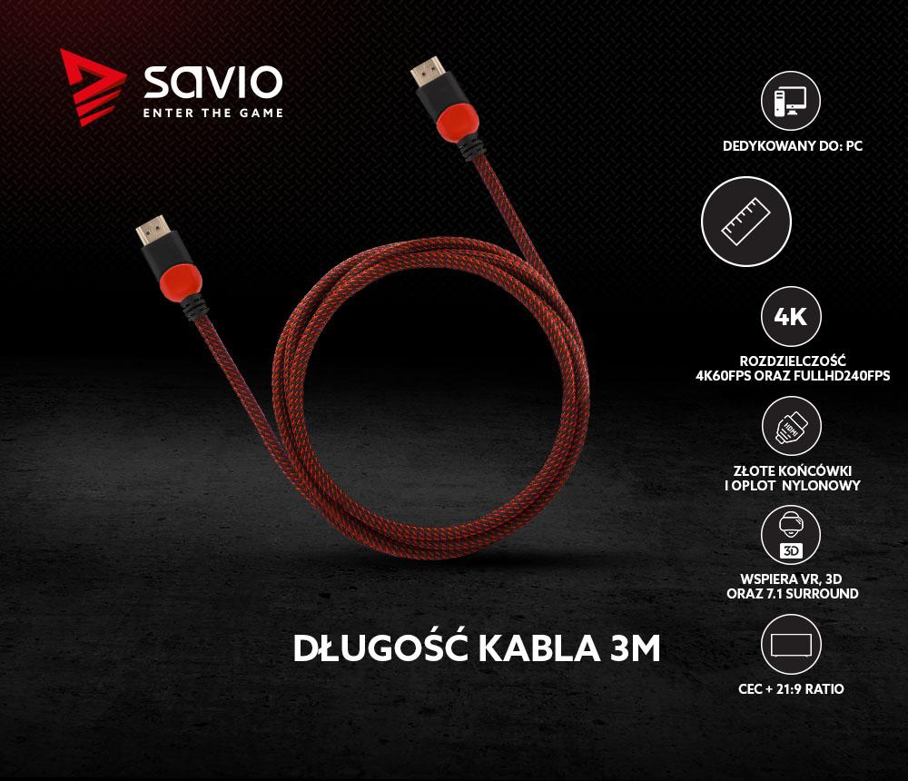 Kabel HDMI 2.0 dedykowany do PC czerwono-czarny 3m