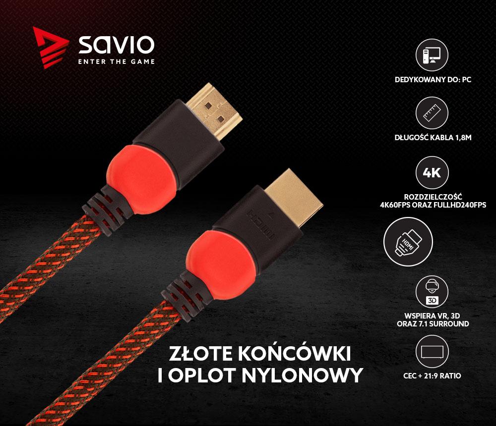 Kabel HDMI 2.0 dedykowany do PC czerwono-czarny 1,8m