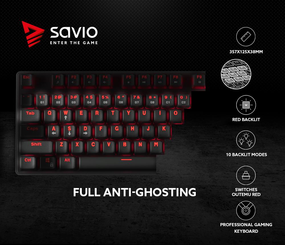 Mechaniczna Klawiatura Gamingowa Savio Tempest RX Outemu Red